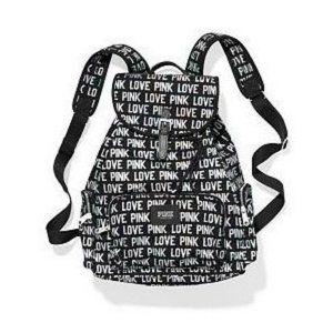 VS Pink Love Pink Black Holographic Backpack